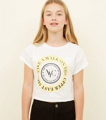 Girls White Circle NYC Upper East Side T-Shirt