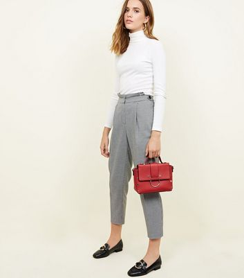 Black Houndstooth Side Tab Cropped Trousers