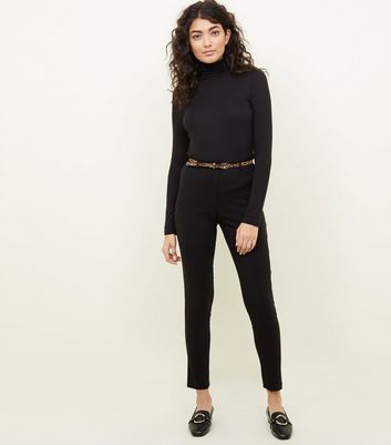Black Slim Leg Trousers with Leopard Print Belt