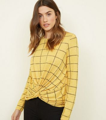 Yellow Check Print Twist Front Top