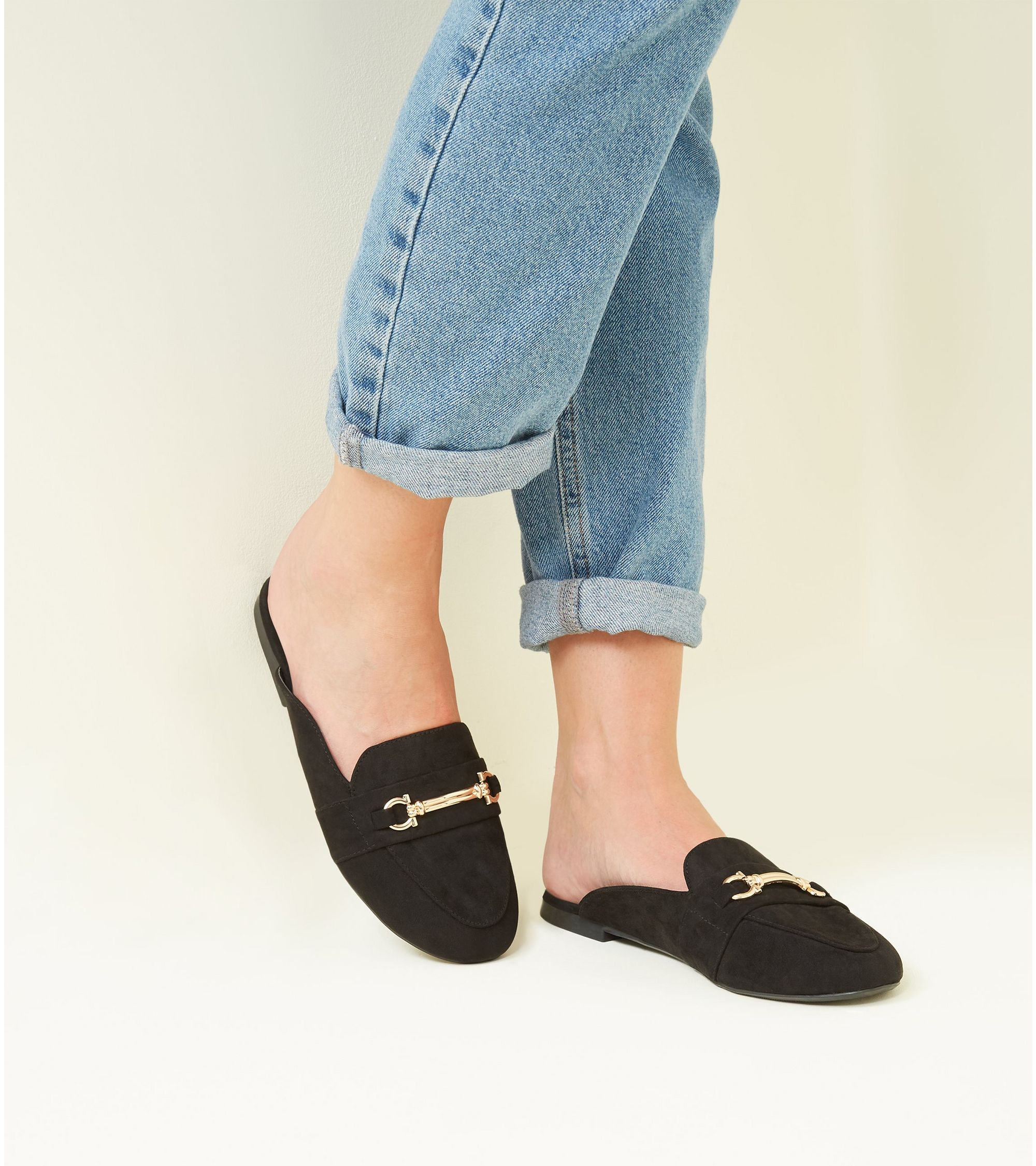 17401e8fe1ecf New Look Black Suedette Bar Front Loafer Mules at £17.99 | love the ...