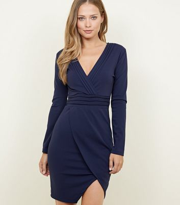 Mela Navy Pintuck Wrap Front Bodycon Dress