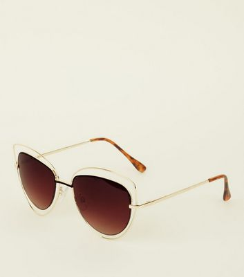 Gold Metal Trim Cateye Sunglasses