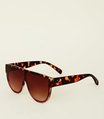 Dark Brown Leopard Print Flat Top Sunglasses