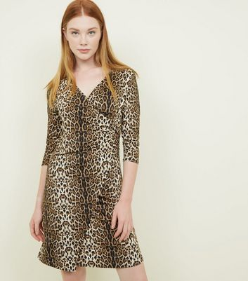 Mela Brown Leopard Print Wrap Front Dress