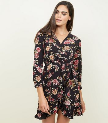 Mela Black Floral Frill Wrap Front Dress