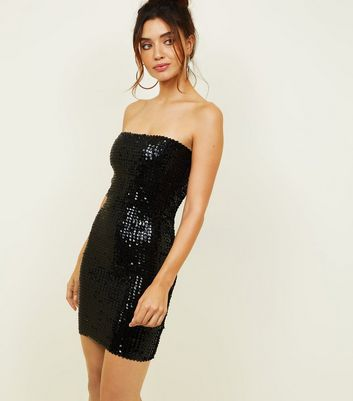 Black Sequin Party Bodycon Dress