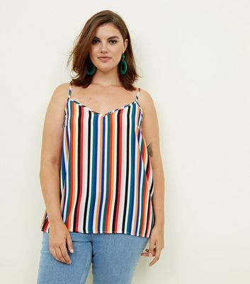 Curves Rainbow Stripe Scoop Back Cami