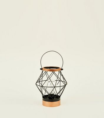 Black Caged Filament Lantern by New Look