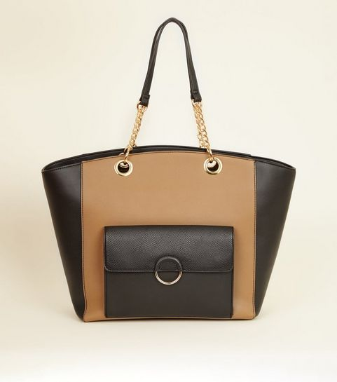 Camel Leather Look Block Ring Front Tote Bag