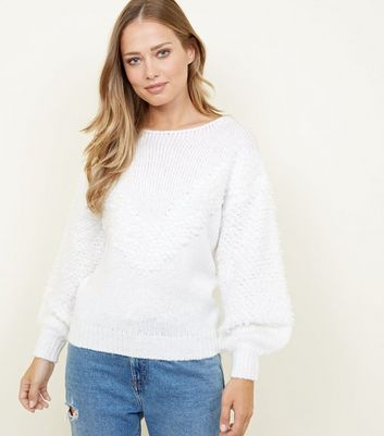 White Chevron Loop Knit Balloon Sleeve Jumper
