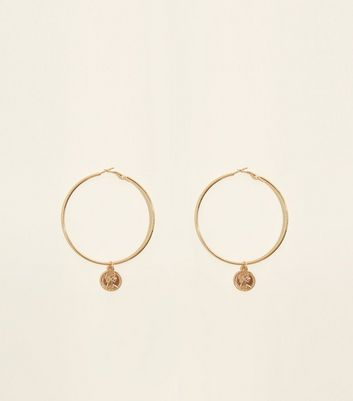Gold Coin Detail Hoop Earring by New Look