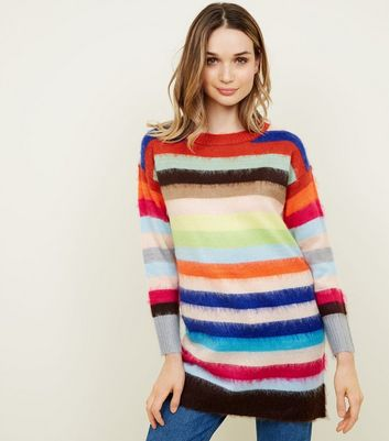 Multi Coloured Stripe Brushed Longline Jumper