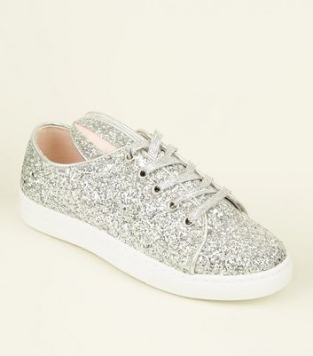 Silver Glitter Bunny Lace Up Trainers