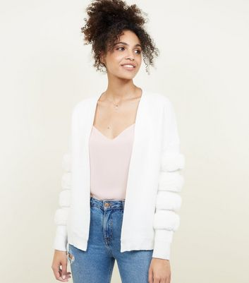 Cameo Rose White Faux Fur Stripe Cardigan