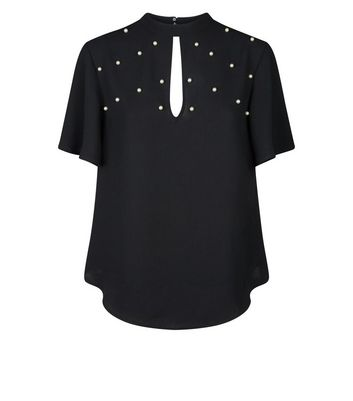New Look - Black Faux Pearl Studded Top - 4