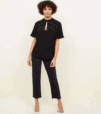 New Look - Black Faux Pearl Studded Top - 2