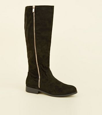 Extra Calf Fit Black Zip Side Knee High Flat Boots by New Look