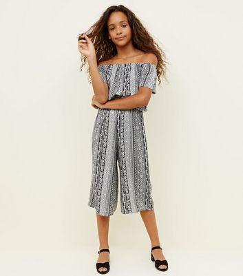 Girls Black Tile Print Jumpsuit