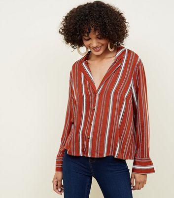 Brown Stripe Collared Button Shirt
