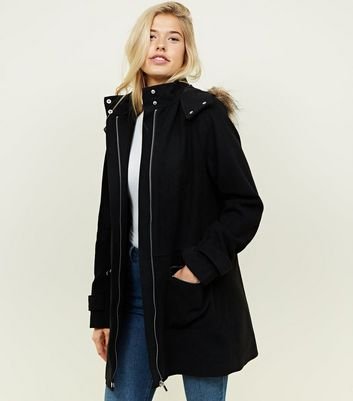 Tall Black Faux Fur Hooded Duffle Coat