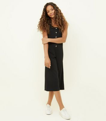 Girls Black Button Front Ribbed Jumpsuit