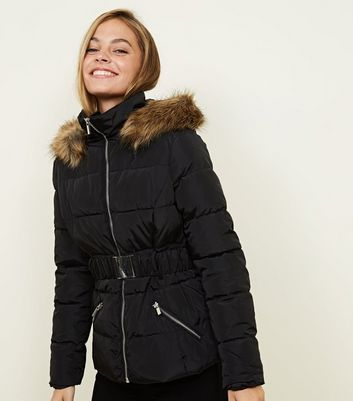 Petite Black Faux Fur Hooded Belted Puffer Jacket