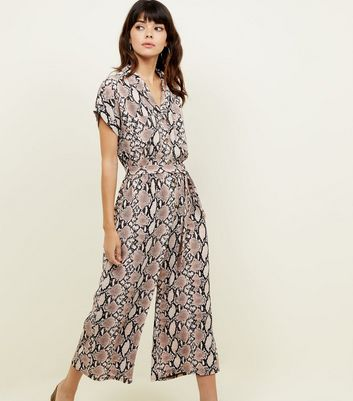 Brown Snakeskin Print Jumpsuit