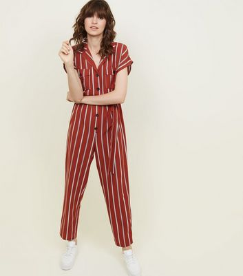 Rust Stripe Belted Jumpsuit