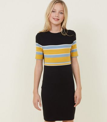 Girls Black Stripe Colour Block Bodycon Dress