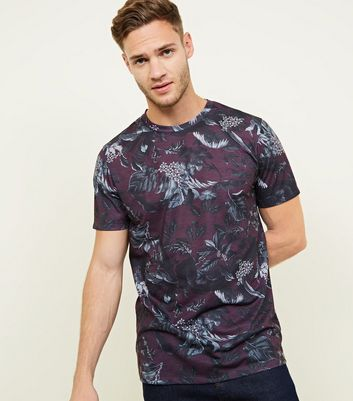Dark Purple All Over Floral T-Shirt