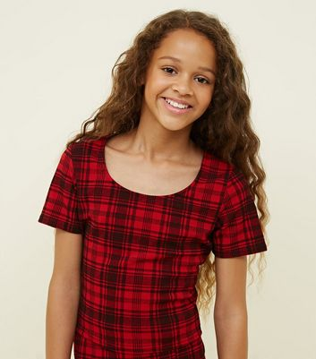 Girls Red Check Scoop Neck Top