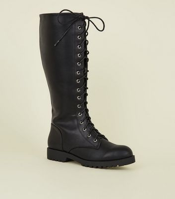 Black Lace Up Chunky Knee High Boots by New Look