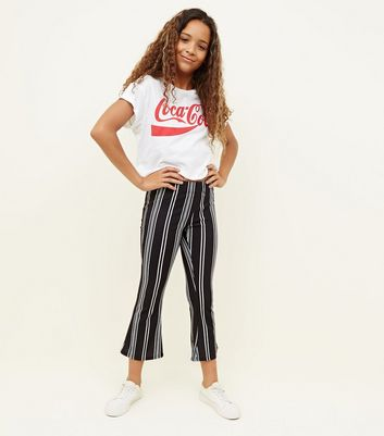 Girls Black Stripe Cropped Flared Trousers
