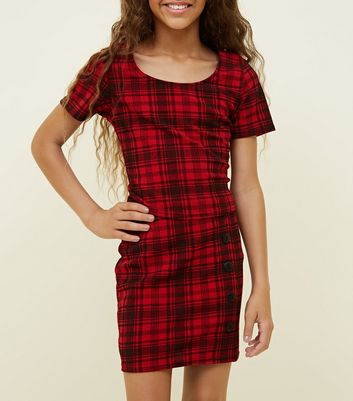 Girls Red Check Side Button Tube Skirt