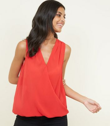 Red Crepe Wrap Front Sleeveless Top