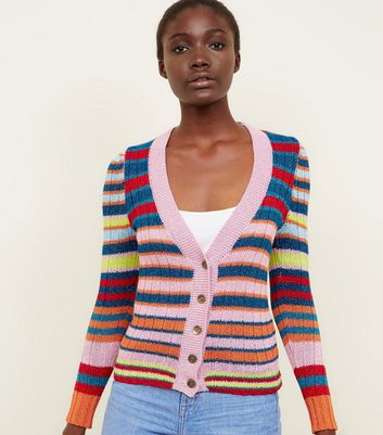 Pink Stripe Glitter Button Front Cardigan