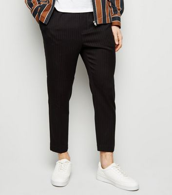 Black Pinstripe Pull On Trousers