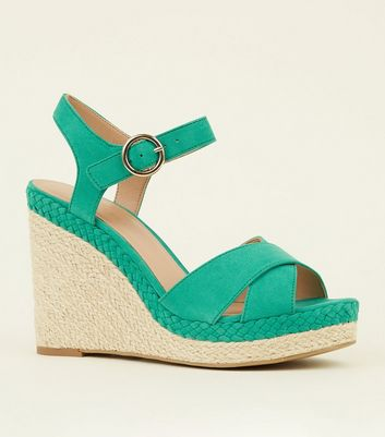 Green Suedette Plait Espadrille Wedges