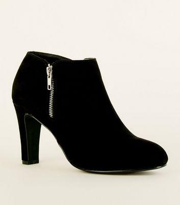 Black Comfort Flex Suedette Zip Side Shoe Boots by New Look