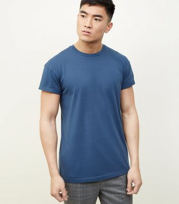 Blue Rolled Sleeve T-shirt