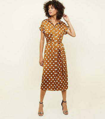 Orange Spot Print Satin Midi Shirt Dress