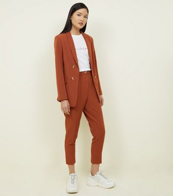 Rust Double Breasted Longline Blazer by New Look