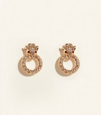 Gold Diamanté Panther Head Stud Earrings