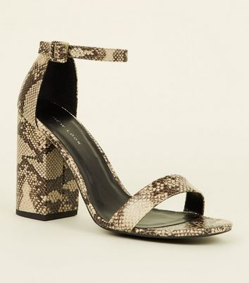 Stone Faux Snake Block Heel Sandals