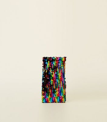 Rainbow Sequin Sunglasses Case by New Look