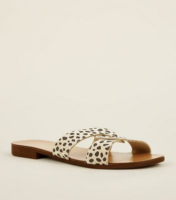 Wide Fit Stone Leopard Print Suede Twist Front Mules by New Look