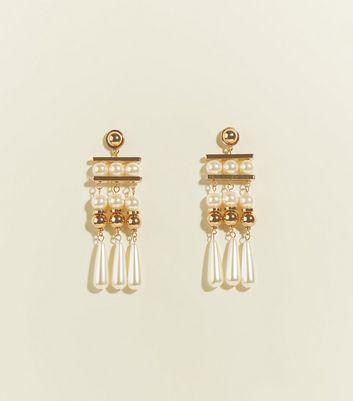 Cream Faux Pearl Bar Drop Earrings by New Look