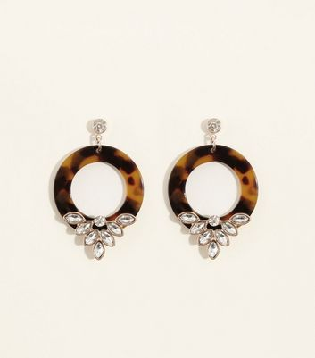 Rust Tortoiseshell Crystal Embellished Hoop Earrings by New Look