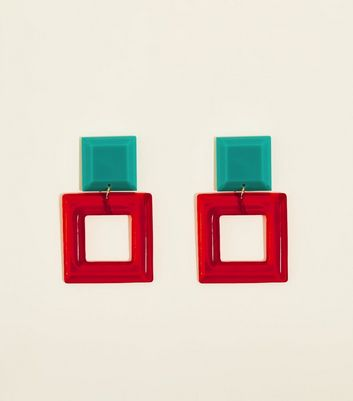 Red Clear Resin Square Drop Earrings